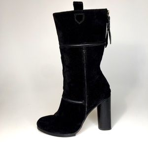 CYNTHIA VINCENT Black Suede Hype Boots